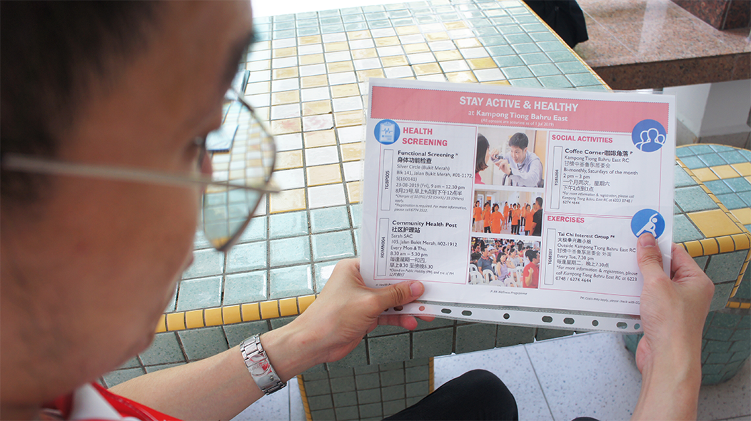 SG Ambassador Paul prepared Active Ageing Programme materials for his outreach session