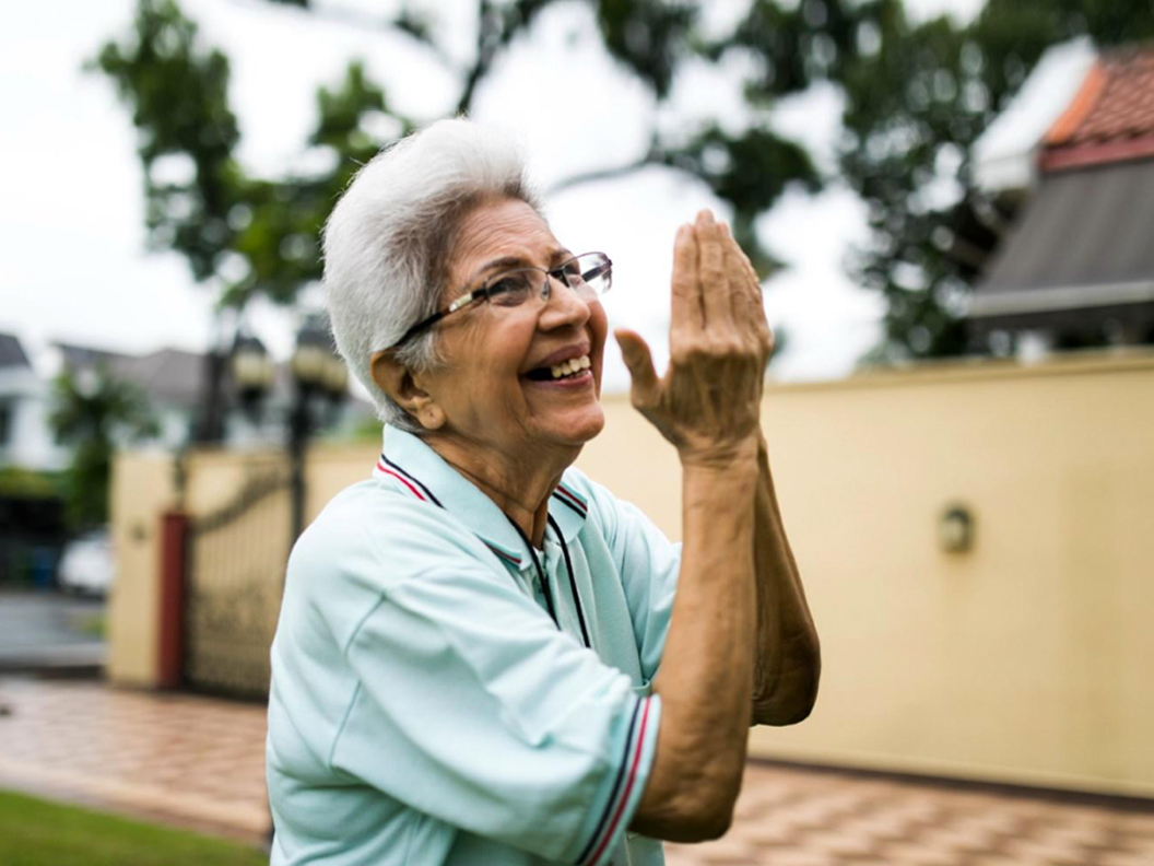 It's always best if you do the laughter session standing up, but for seniors who are not able to stand, they can still follow the upper body exercises.